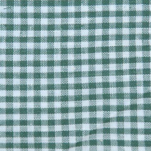 Tissu coton vichy vert fonce petit carreau - coupe par 20 cms