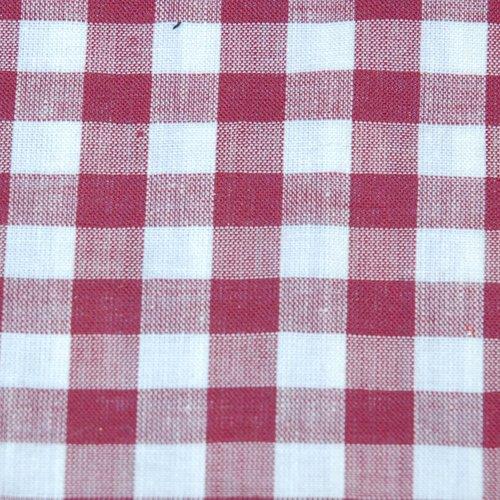 Tissu coton vichy bordeaux grand carreau - coupe par 20 cms