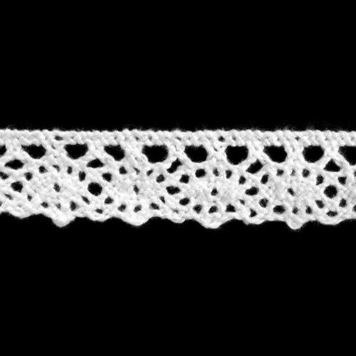 Ruban dentelle 100% coton blanc - largeur 13mm - coupe au mètre au mètre - qualité extra.