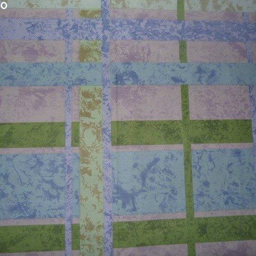 Coupon tissu imprimé bleu/violet/vert 50*70cm [ref 042*5070]