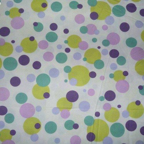 Coupon tissu gros pois violet et vert 50*70cm [ref 049*5070]