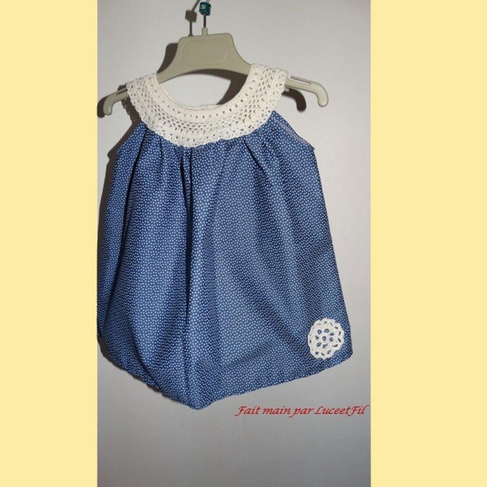 Robe bébé bleue à encolure ronde - Taille: 6/9 mois