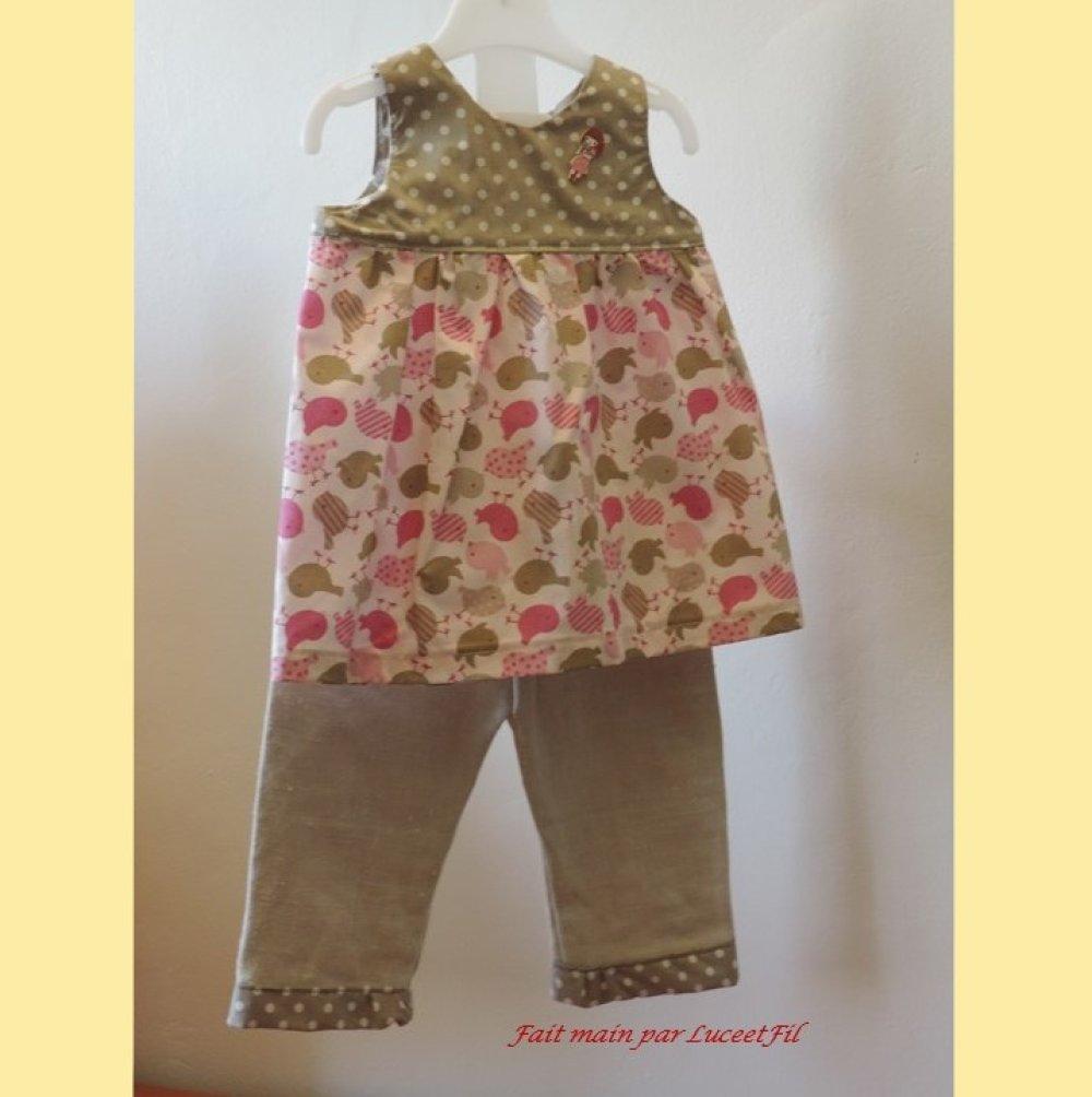 """Ensemble fille tunique pantalon """"mon petit poussin"""" - Taille: 12 mois"""