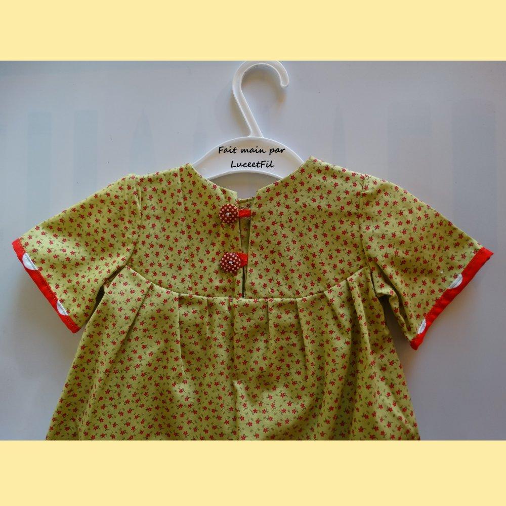 Petite robe printemps été en liberty vert - taille : 6 mois