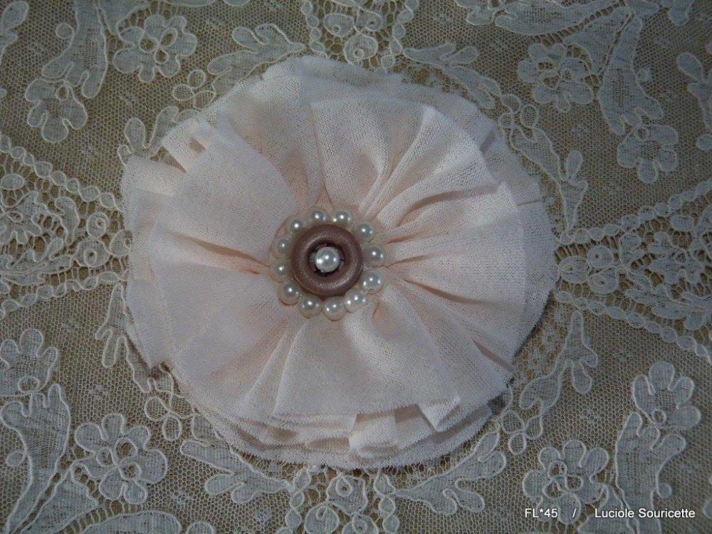 FL*45 Fleur rose en tissu 10cm