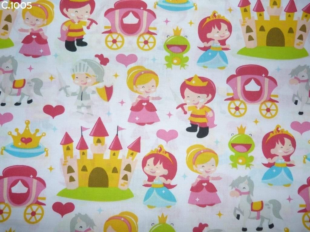 Tissu C1005 Princesses sur fond blanc coupon 50x70cm