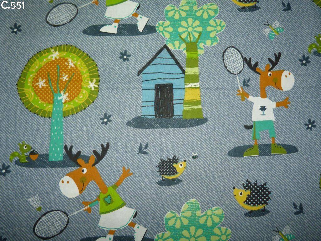 Tissu C551 Elans jouant au badminton coupon 50x50cm