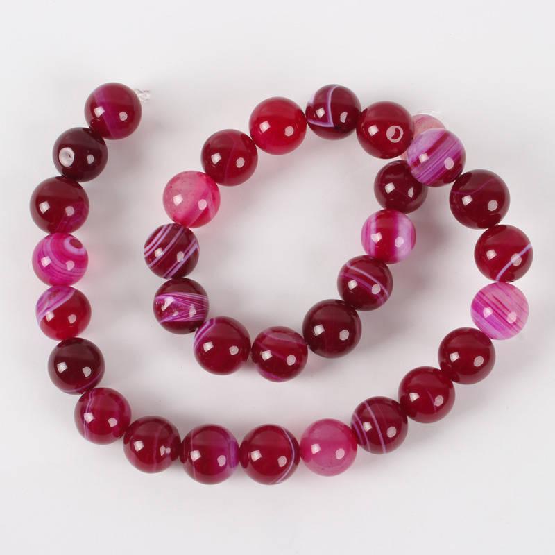 Perle Agate de pierre naturel rose 12 mm