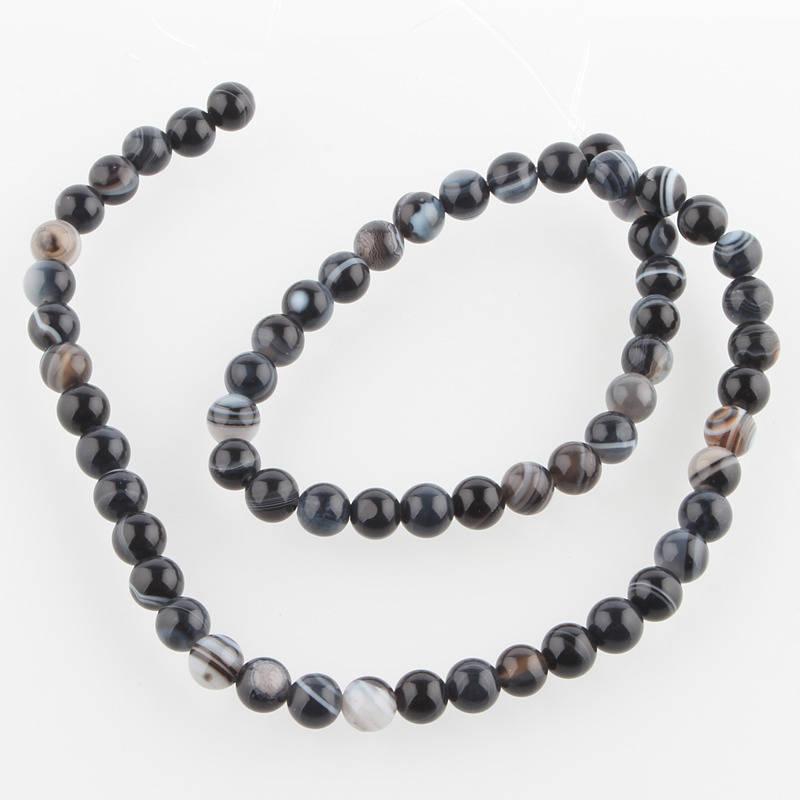 Perles Agate de pierre naturelle teint noir