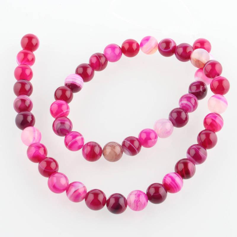 Perles Agate de pierre naturelle teint rose
