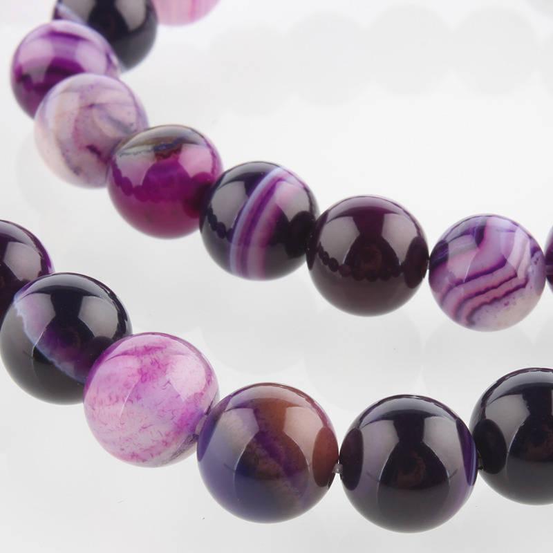 Perles Agate de pierre naturelle teint violet
