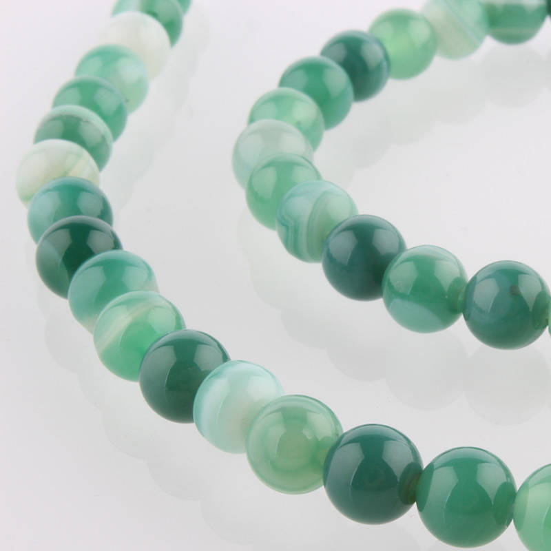 Perles Agate de pierre naturelle teint vertes