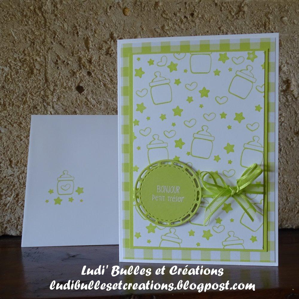 Carte Naissance verte et son enveloppe assortie, carte de félicitations de naissance