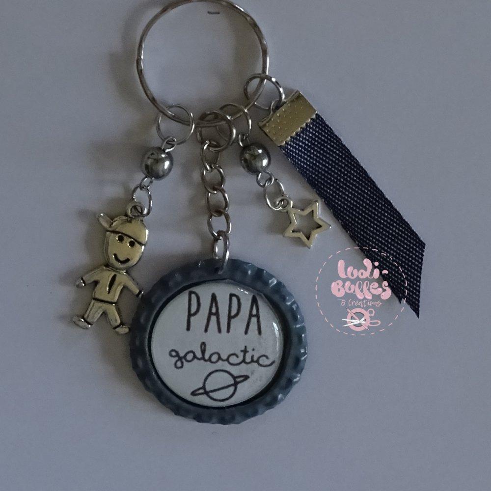 """Porte Clé Cadeau Papa, Cadeau fête des pères, """"Papa Galactic"""""""