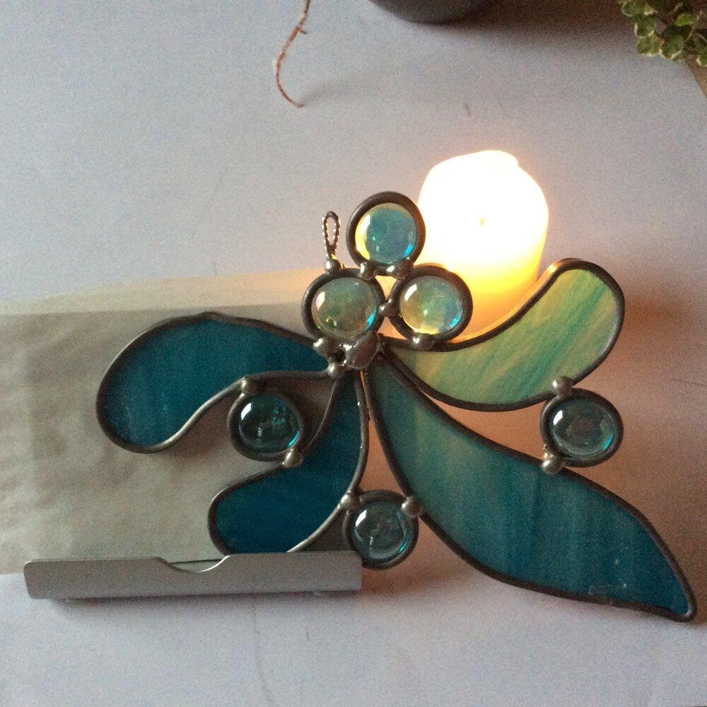 Attrape Lumière bleu turquoise en vitrail tiffany