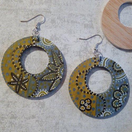 Boucles d 'oreilles créoles  éthnique  bois peint