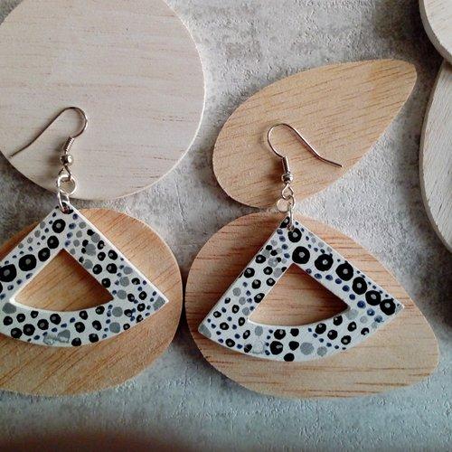 Boucles d oreilles éthnique bois forme triangle