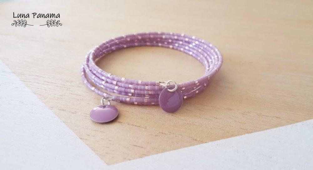 Bracelet manchette en perles japonaises mauves et roses métallisées, mariage, bohème, miyuki, boho, bohème, bijoux femme, cadeaux femme