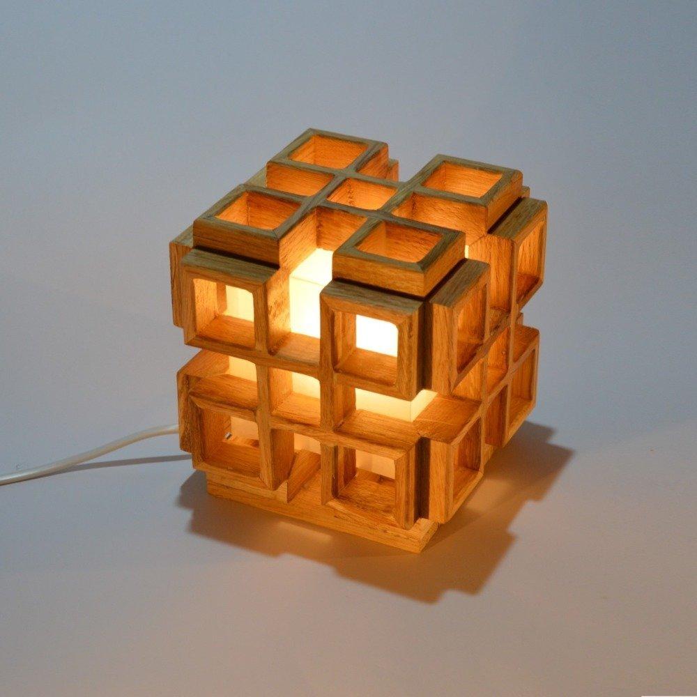Lampe carrée design en bois, Infinity