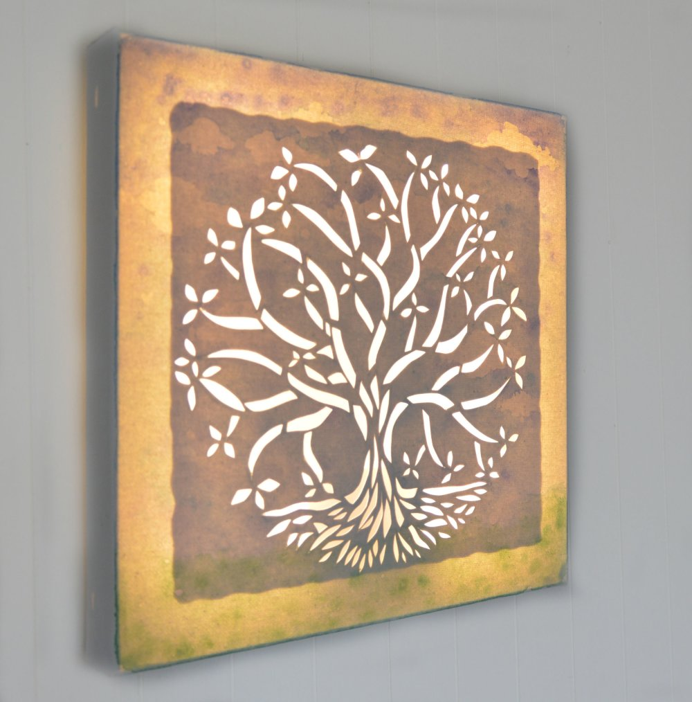 Tableau lumineux carré à LED 'Arbre de vie'