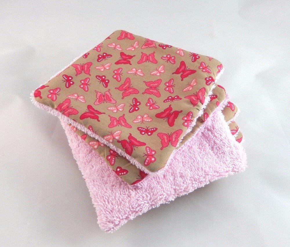 Lot de lingettes lavables motif papillons roses et fuchsia