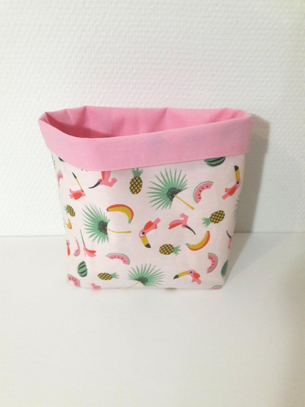 vide poche taille moyenne motif exotique sur fond blanc intérieur rose panière de rangement