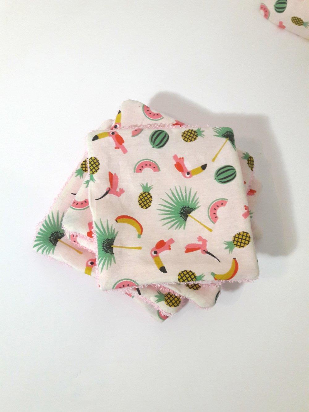 Lot de lingettes lavables motif exotique