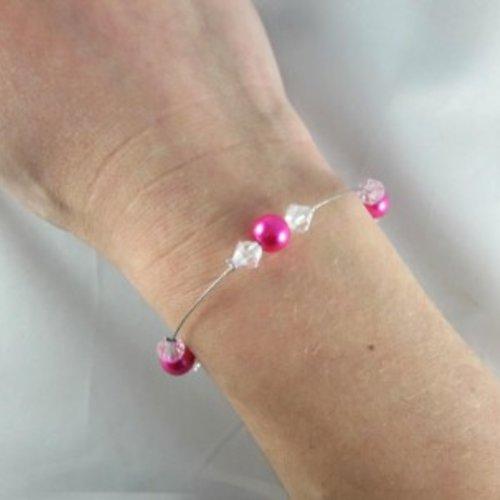 Bracelet mariage discret perles fuchsia et cristal - personnalisable