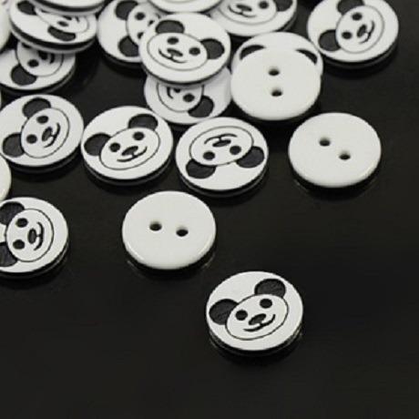 lot 20 boutons panda noir et blanc 12.5 mm  2 trous neuf