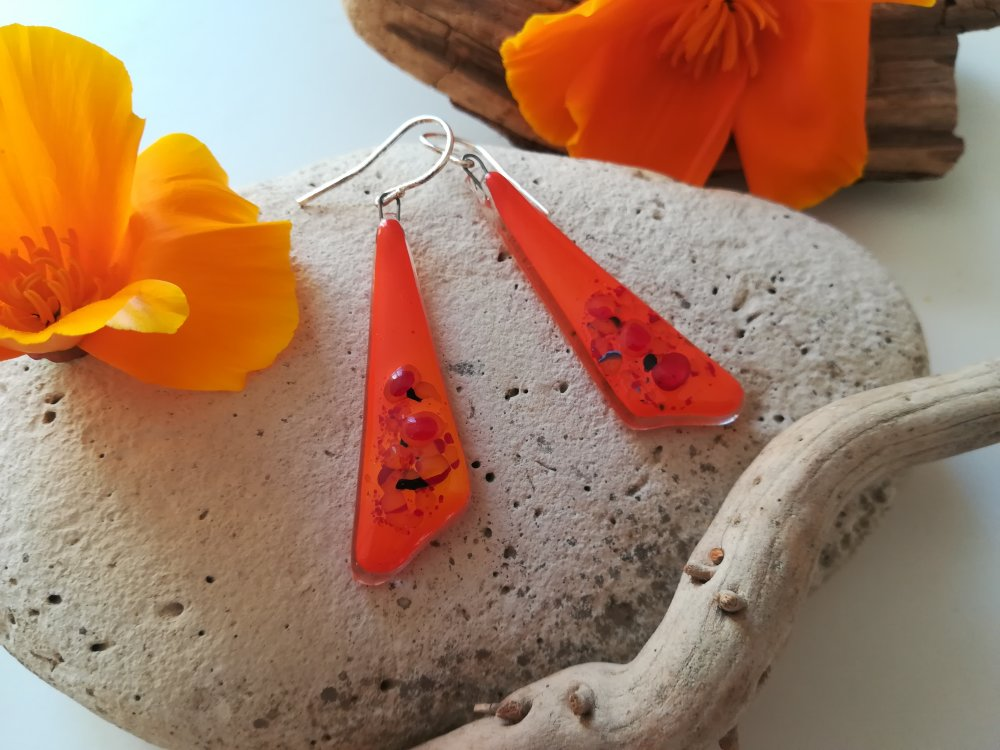 "Boucles d'oreilles orange triangulaire en verre fusing collection:"" PÉPITE...L' ÉPANOUIE..."""