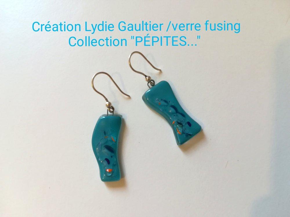 """Boucles d'oreilles en verre fusing argent collection """"PÉPITES... LIBÉRATION. .. """""""