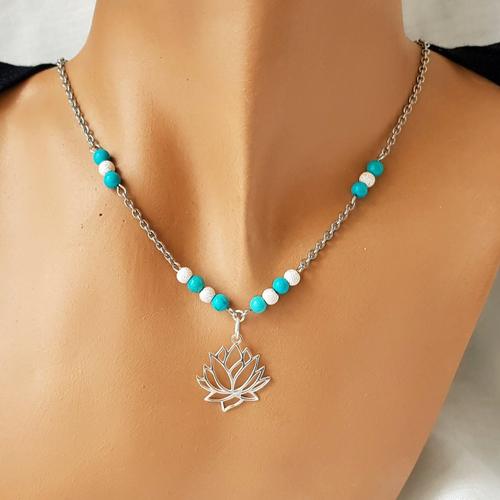 Bijou, collier fleur de lotus en turquoise et argent diamant