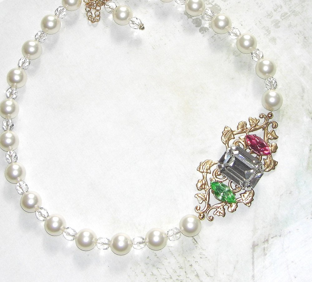 Collier mariage baroque PEARL & CRISTAL
