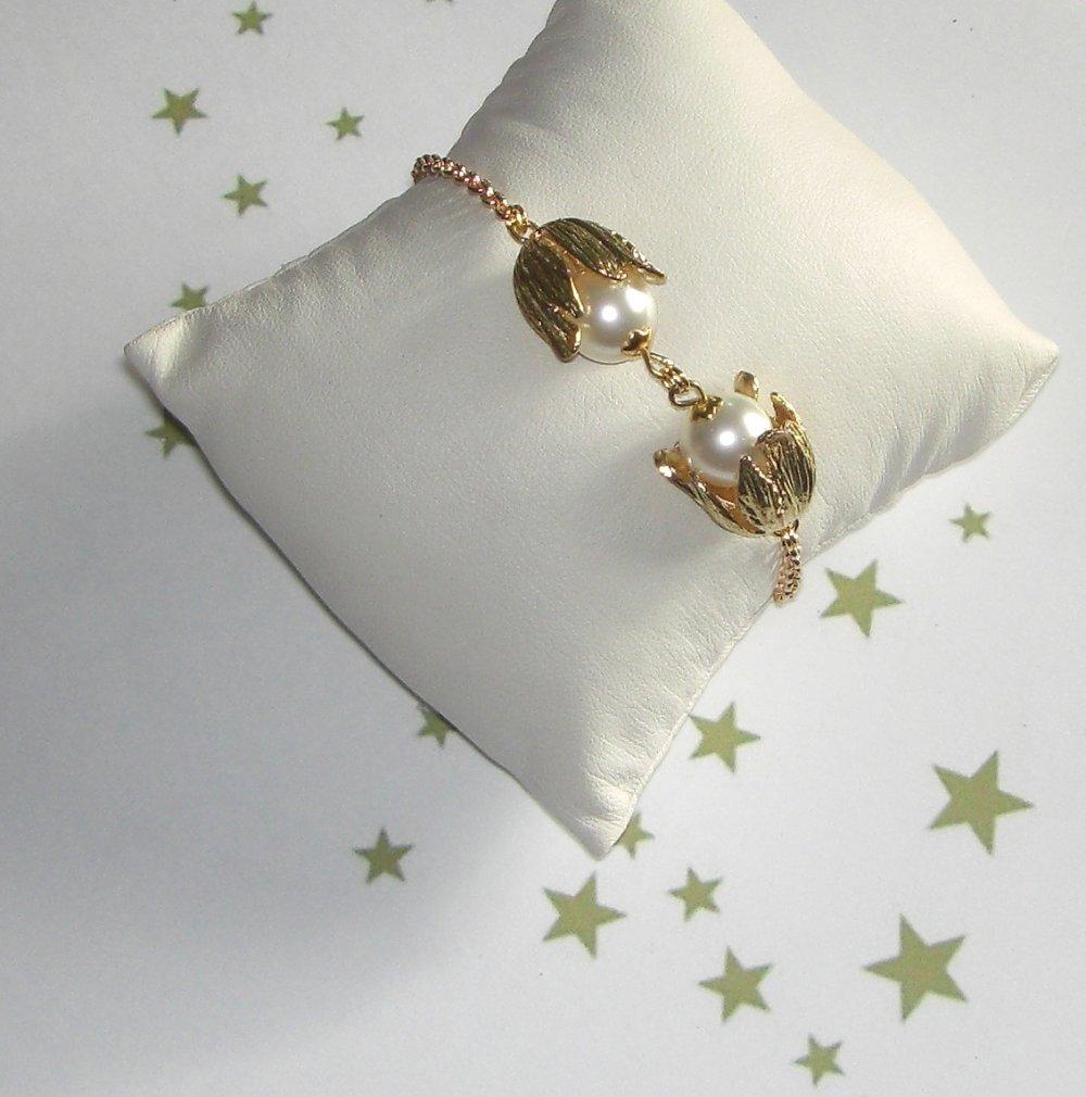 Bracelet baroque FLEUR BLANCHE