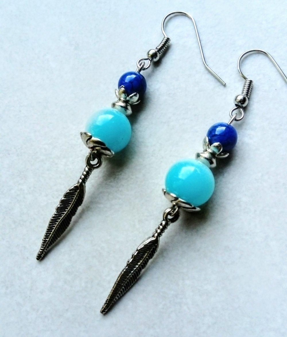 Boucles d'oreilles bleues, boucles ethniques, boucles d'oreilles plume