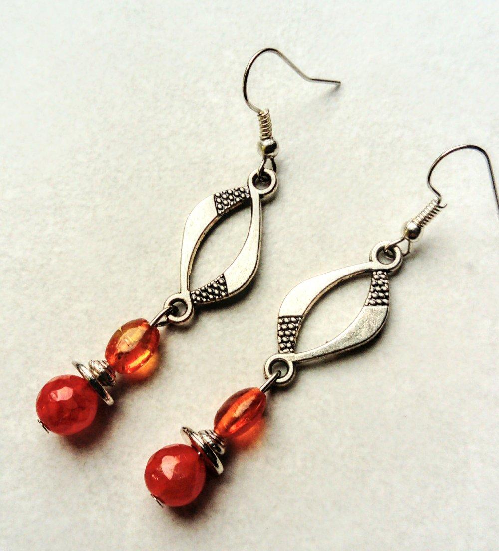 Boucles d'oreilles automnales, boucles d'oreilles oranges
