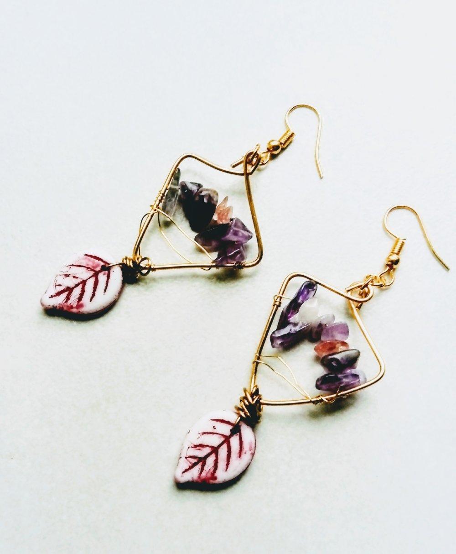 Boucles d'oreilles améthyste et quartz rose
