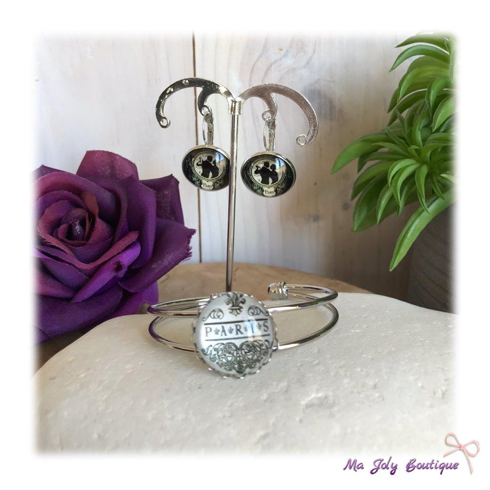Parure boucles d'oreilles + bracelet - Métal argenté - Cabochons en verre - modèle «Paris danseurs»