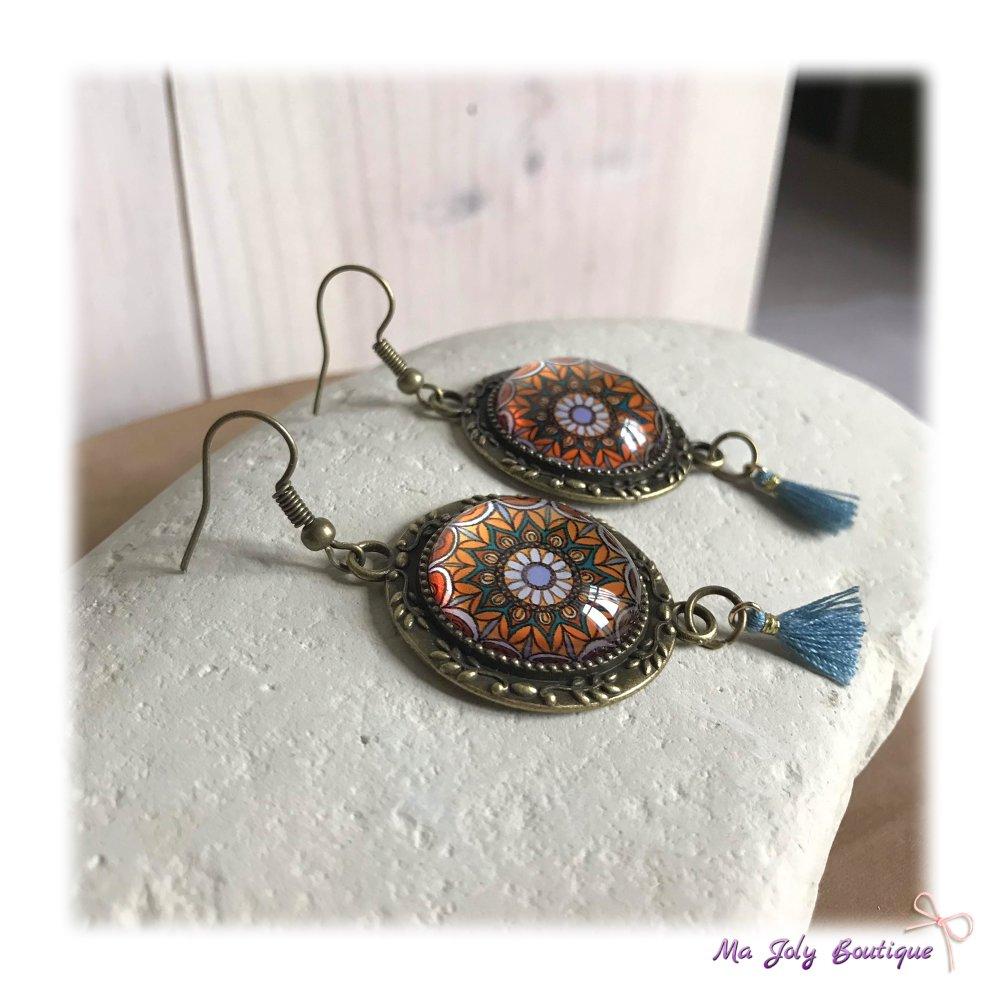 Boucles d'oreilles - Laiton bronze antique - Cabochon dôme en verre - jaune ocre/bleu/marron