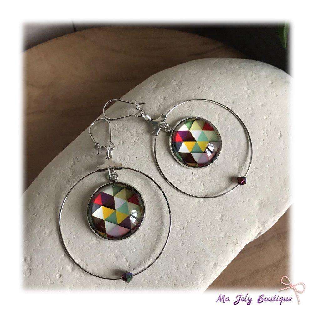 Boucles d'oreilles - Métal de couleur argenté - forme créoles - Cabochon