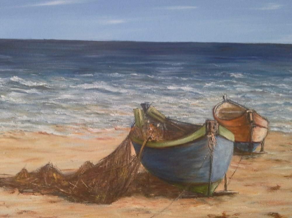 Barques échouées á marée basse