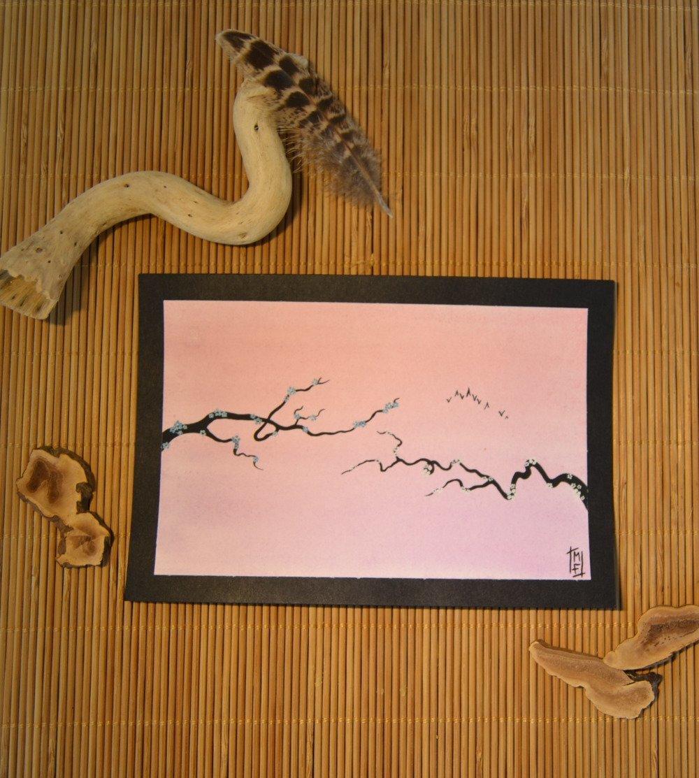 Aquarelle Arbre Japonais Zen