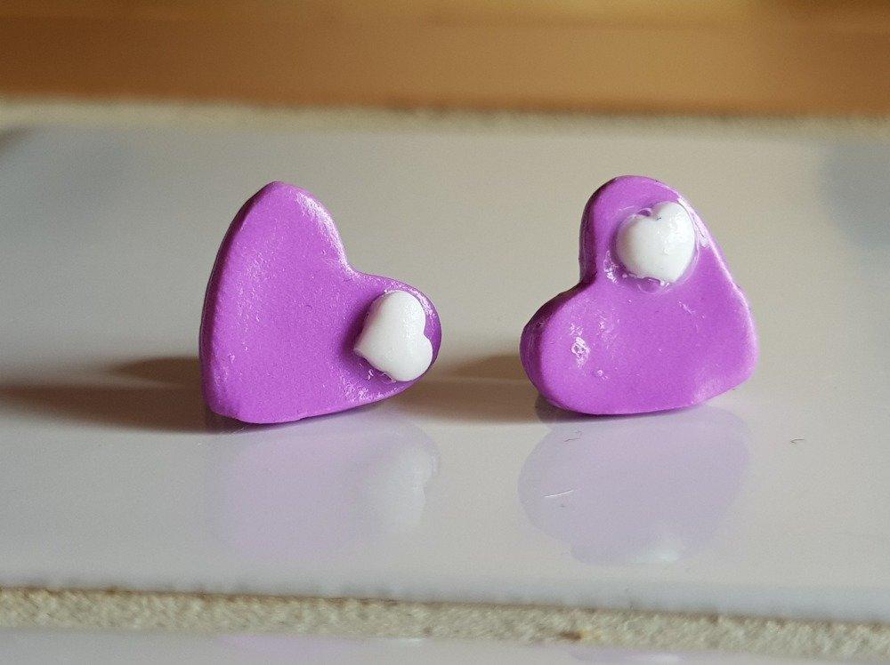 Boucles d'oreilles Puces Cœur