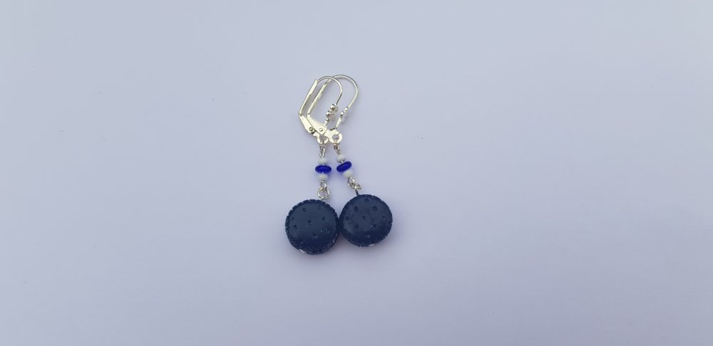 Boucles d'oreilles Mini-macarons bleu marine
