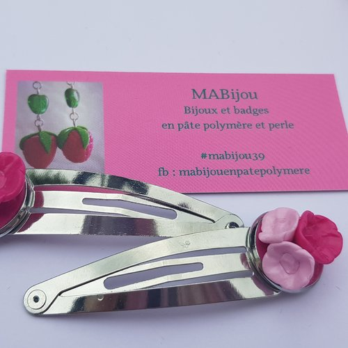 Barrettes fleurs rose framboise
