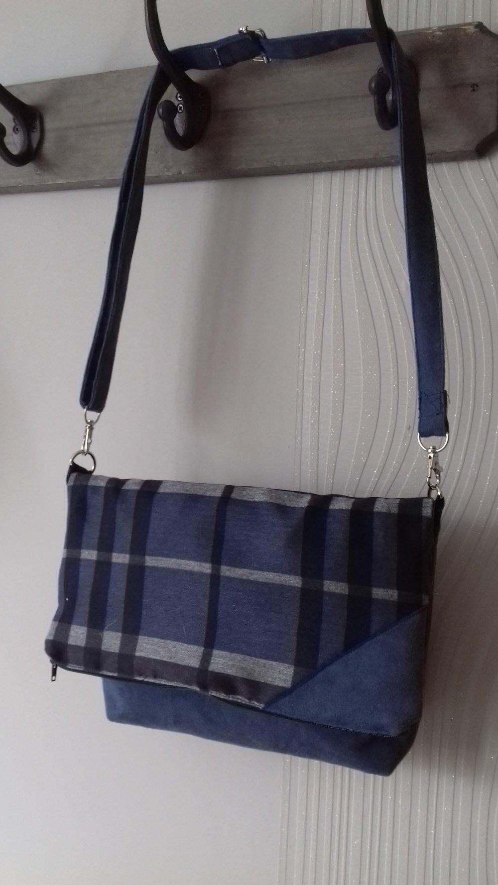 "sac ""titine"" bleu /carreaux gris"