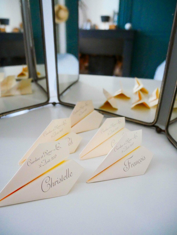 Marque Place Avion Origami Porte Nom Mariage Bapteme Personnalise Un Grand Marche