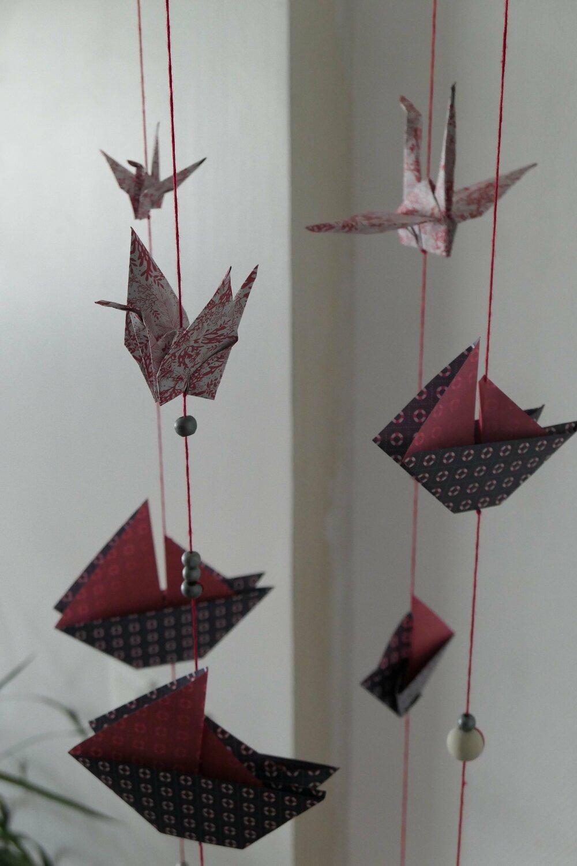 Mobile d'éveil en papier pour bébé Origamis thème de la mer