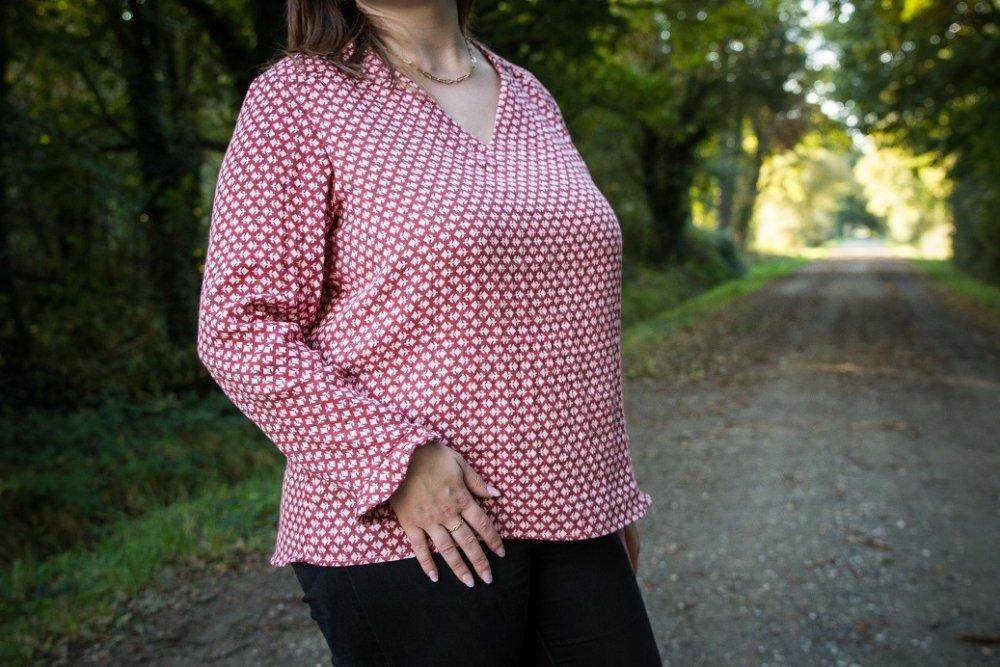 La blouse Emma - rouge fleuri