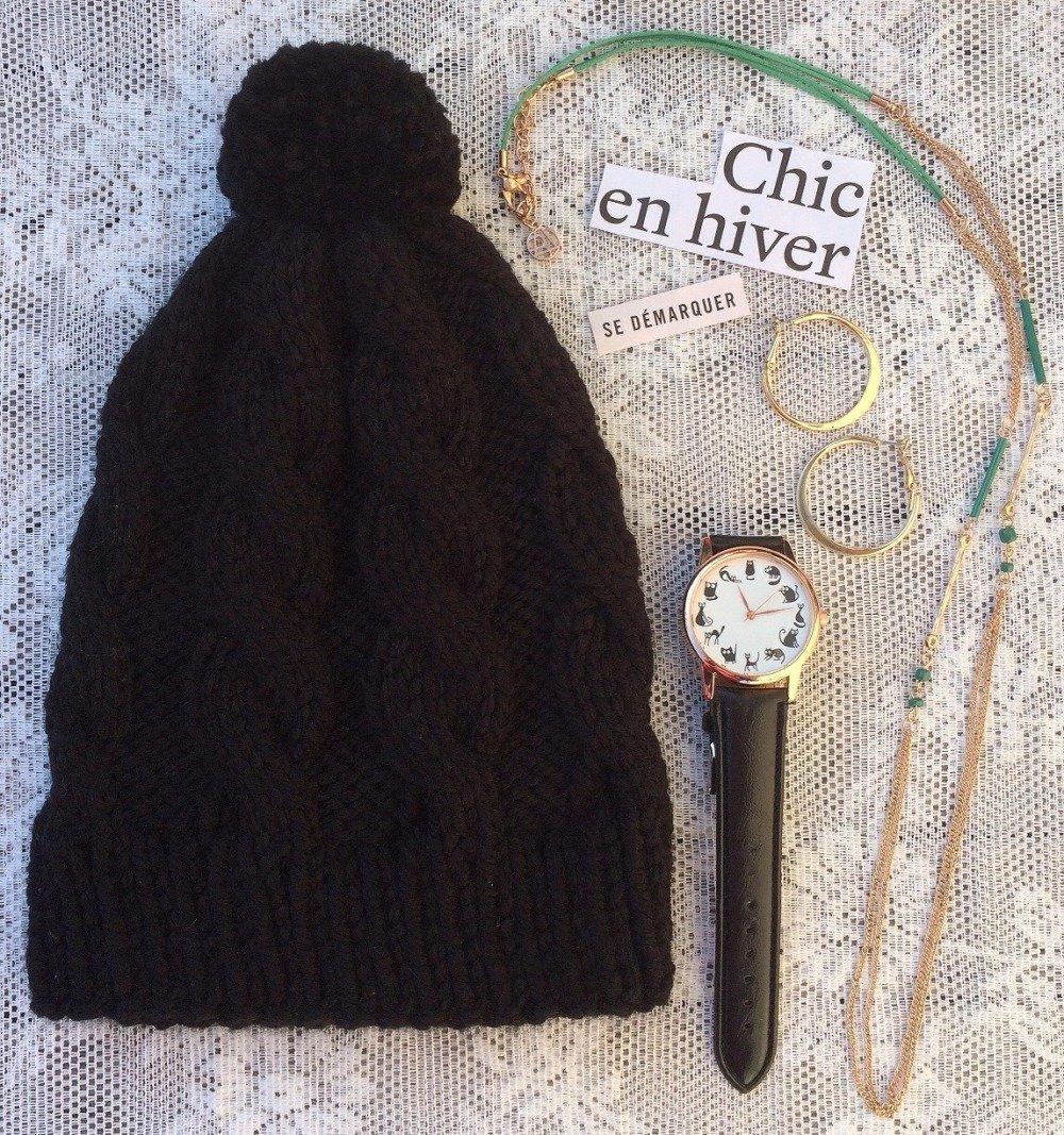 Bonnet en laine à torsades